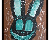 """painting original acrylics on cardboard painting - Acrylic on cardboard - Bunny  rabbit - """"Illusions"""" - brown and green Free shipping"""