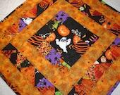 Halloween Table Topper Quilt Table Runner - Orange, Black, Purple - Witch, Ghost, Pumpkin