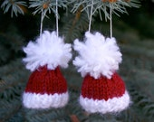 Two Santa Miniature Knit Hat Ornaments- 2 Tiny Knit Red Caps- Doll, Bears, Ornaments, Holiday Decor