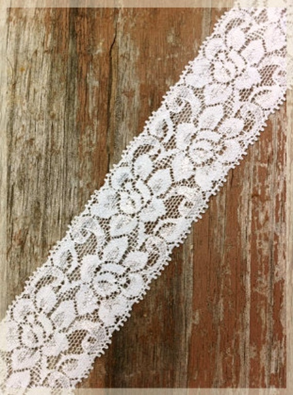 2 Yards Light Ivory Stretchy Lace for Headbands, Garters, and Craft Projects