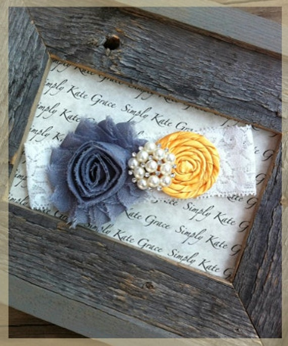 Items Similar To Yellow And Gray Wedding Garter- Vintage