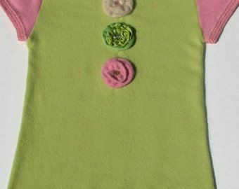Upcycled Cashmere and Croched Cashmere Girls Dress or Tunic - Pink and Green - Size 4/5 T  One of A Kind