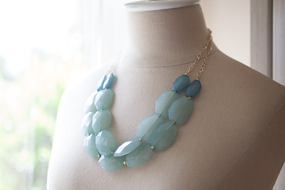 Mint and teal color block bib statement necklace