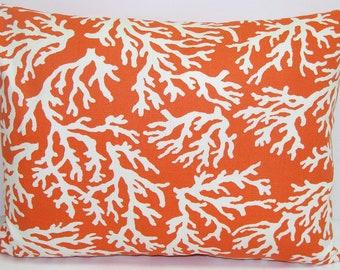 PILLOW.ORANGE OUTDOOR.16x20, 16x24 or 12x20 inch.Pillows.Lumbar Pillow Cover.Decorative Pillows.Housewares.Coral.Indoor.Outdoor.Housewares