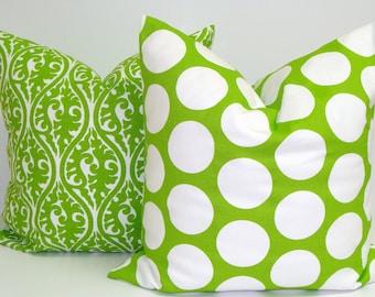 GREEN PILLOW SET.16x16 inch.Decorative PillowCover.Home Decor.Housewares.Chartreuse Green Pillow.Green.Cover.Lime Green.Cushion.Bright Green