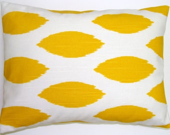 PILLOW.YELLOW PILLOW.16x20, 16x24 or 12x20 inch.Pillow Covers.Decorative Pillows.Yellow Lumbar Pillow.Ikat.Housewares.Home Decor.Cushion.Cm.