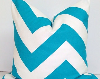 HGTV PILLOW.TURQUOISE Pillow.18x18 or 16x16 Inch.Decorative Pillows.Throw Pillow Cover.Housewares..Cushions.cm.Turquoise Cushion. Chevron