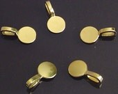SALE - 50 - Glue on Large Gold plated flat pad Bails for  glass tiles and more. Lead and Nickel Free