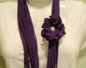 Purple Cotton T-Shirt Infinity Scarf with removable Flower