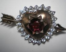 REJA Brooch  Sterling Vermeil Heart, Arrow and Red Center   Item No: 16356    RARE