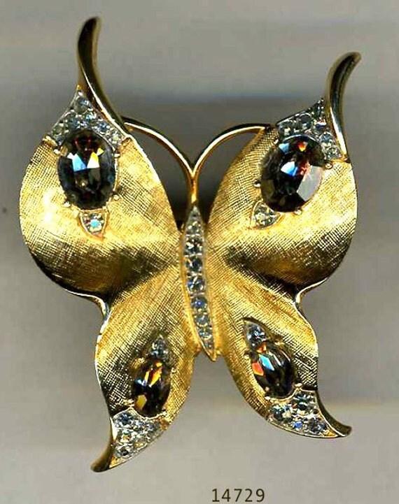 TRIFARI Goldtone and Rhinestone Butterfly Brooch   Item No: 14729