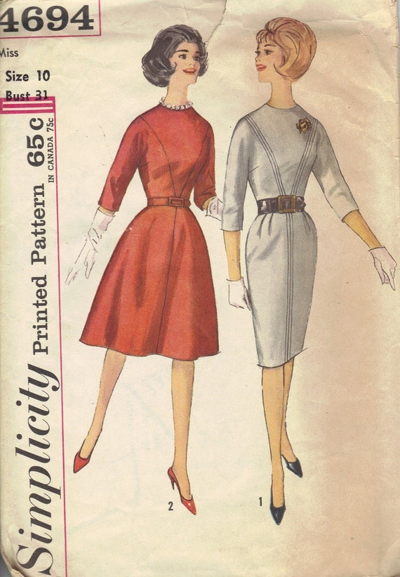 60s Simplicity Mad Men Style Sewing Pattern Basic Dress Business Casual 3/4 Sleeves High Neck Belted Waist Full or Slim Fit Skirt Bust 31