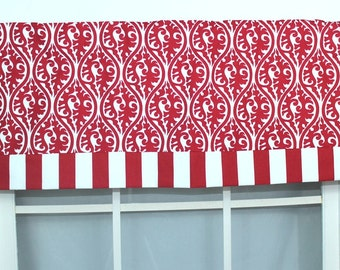 Kimono banded straight valance in red and white
