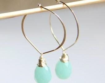 Aqua Gemstone Hoop Earrings - Sea Blue Quartz, Sterling Silver Hoop, Aqua, Briolette, Lotus Hoop