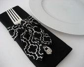 SALE Napkin Ring Swags Set of 4 Black & White Modern Print