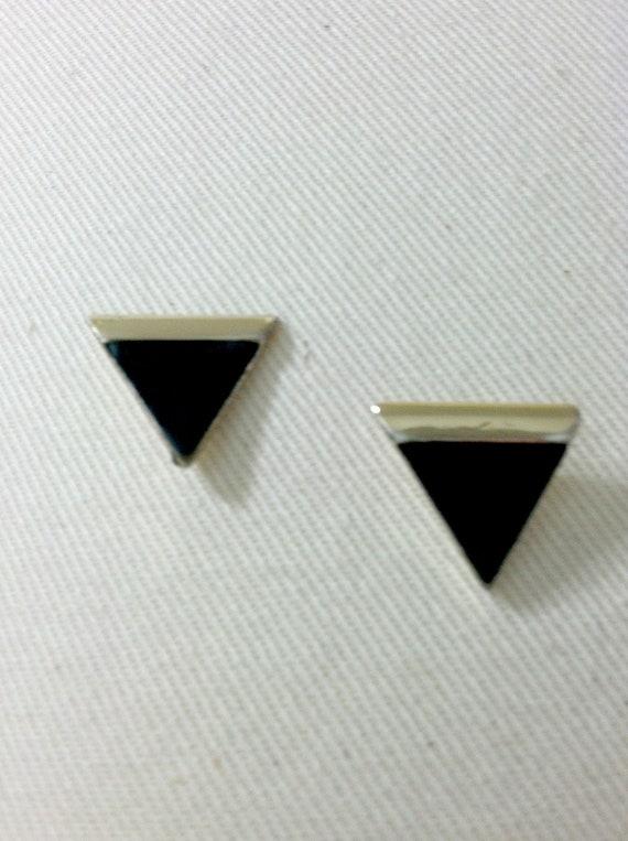 Black & Gold Triangle Earrings 1980's