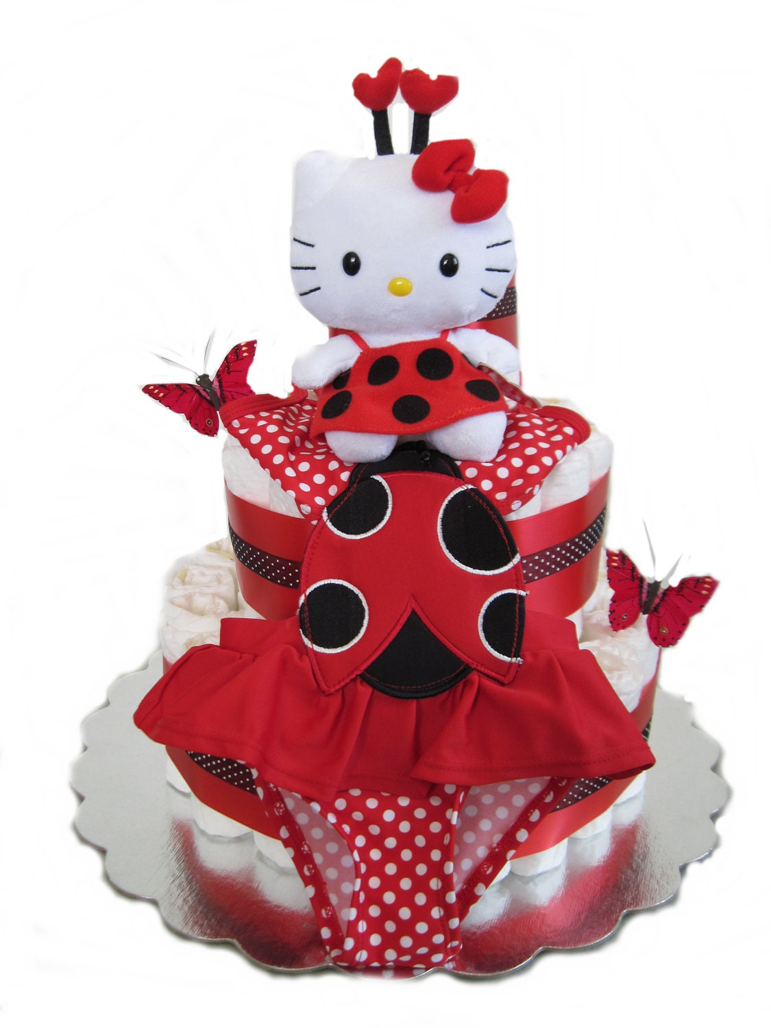 diaper cakes hello kitty lady bug diaper cake by