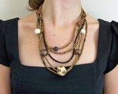 African necklace, ceramic bead necklace, leopard, black, copper lustre beads