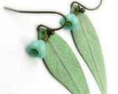Blue and Green Dangle Earrings Feather Metal Margarita Cocatoo Turquoise Flower Brass Hand Painted - Last Pair - Under 25