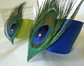 RESERVED for Dawn - 6 Royal Blue Peacock Feather Napkin Holders