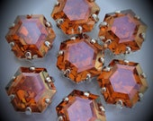 4430 10mm Genuine Swarovski Crystals Chili Pepper Fancy Hexagon Sew On Rhinestones Sterling Silver Plated Beads