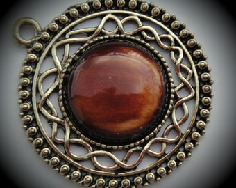 Round Brass Pendant With Brown Cabochon