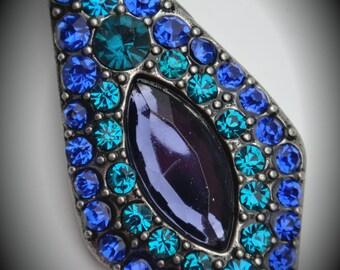 Silver Blue Crystals Drop Pendant
