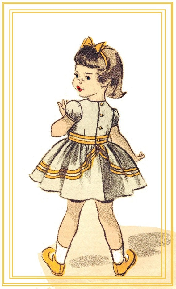 Advance 5887 Vintage 50s Toddler Girls Party Dress, Sun Dress, Dress Slip, with Puff Sleeves & Contrast Collar Sewing Pattern Size 2