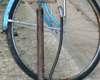 1940s  Bike / Auto Tire Floor Hand  Pump w/ Wood Handle