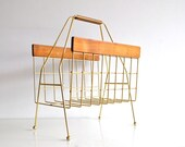 Mid Century Magazine Rack - Wood and Brass