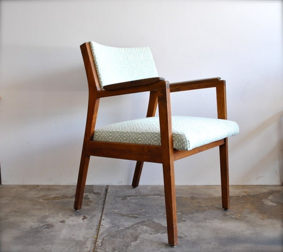 Mid Century Walnut Side Chair - New Sea Blue Patterned Upholstery