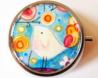 Bird, Pill Box, Pill Case, Pill Container, Bird, Gift for her, bird pill case, gift for mom, stocking stuffer, cute pill case (1384)