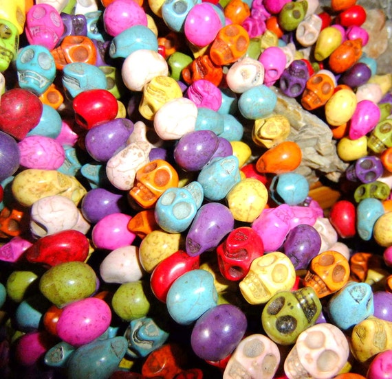 1/2 Strand of Side Drilled 10x10mm Multi Color Skull Beads