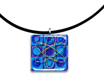 Colorful blues, Glass tile pendant, handmade, Big Bang Theory inspired, blue purple yellow