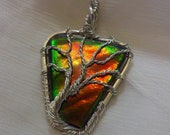 TREE OF LIFE Iridescent Color Changing Ammolite / Gem Ammonite Fossil Stone Pendant & Leather Necklace Wrapped in 925 Sterling Silver Wire