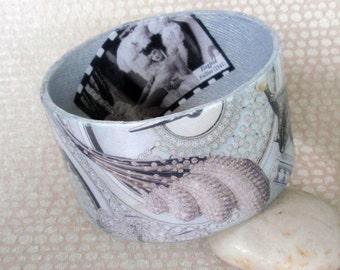 Silver Bejeweled Decoupage Bracelet / Bangle / Cuff