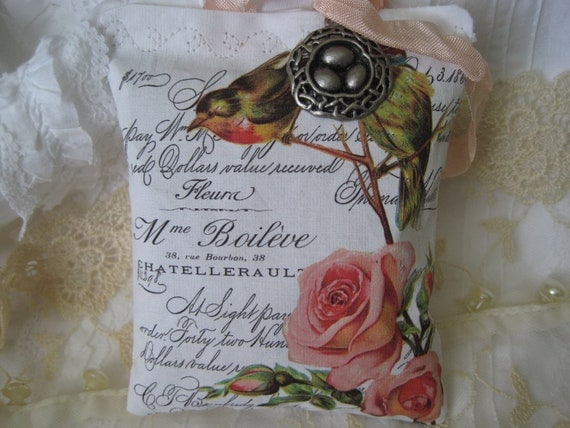 Bird Lovers Sachet - Robins and Pink Roses - Eggs in Nest Charm on Antique Script - Gift