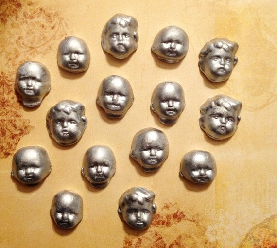 Set of 15 Art Doll Assemblage Heads Steampunk Natural Stone Clay Silver Heads Doll Face