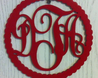 ROPE MONOGRAM, FREE Shipping, scroll initials wood hanging for door or wall