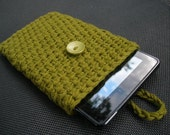 Kindle Fire eReader Cover Sleeve in Olive Green 100% Cotton Crochet - Ready-to-ship