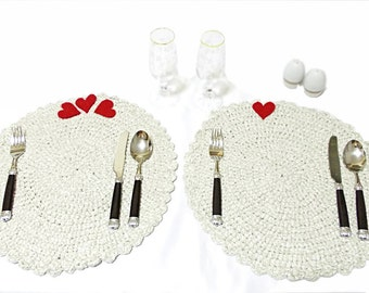 Crochet table mat, Handmade Crochet table set, placemat, For private luncheons, White pot holdet - Romantic dinner - Romantic placemat