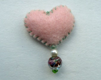 signed original Pink Felt Heart Pin  pink felt pin with glass beads hand sewn