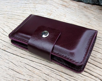 iPhone4/ Full option purple leather iphone wallet (able to request name stamp)