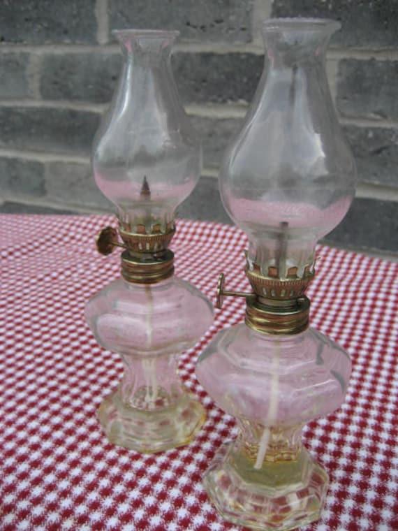 Vintage Pair Mini Glass Oil Lamps