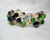 Purple and Green Beaded Bracelet, handmade beadwork jewelry, wire crochet bead bracelet, size small bracelet