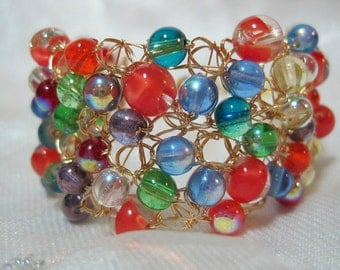 Wire Crochet Beaded Bracelet in Red, Blue, and Green, multicolor bead bracelet, handmade crocheted beadwork jewelry