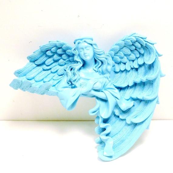angel sitting shelf, wall decor  //  decorative figurine aqua sky blue, upcycled home decor , angels, wings, bird, romantic