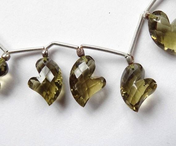 Valentine Olive Quartz Faceted Fancy Asymmetrical Heart Briolette Drops Matched Pair P3130