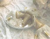 Vintage Tassels Gold & White Cottage Chic Set of 3