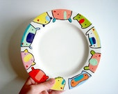 SALE-- Hand painted ceramic PLATE with kid friendly bright playful color Knitimal monster illustrations in the round by might